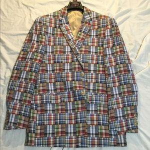 Men's 44L Plaid Red Blue White Blazer Sports Coat